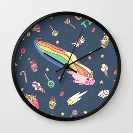 """Vector pattern series of """"Unicorns time"""". Art for kids. Wall Clock"""