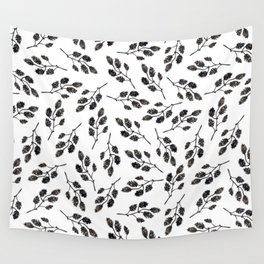 Black white watercolor hand painted floral leaves illustration Wall Tapestry