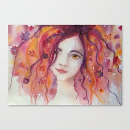 Watercolor Whimsical Flower Girl Portrait Canvas Print