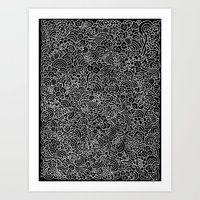 Fucsias - black and white Art Print