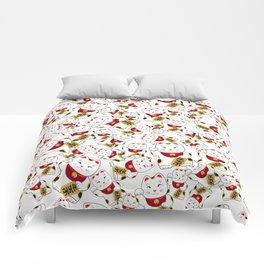 Good luck cat pattern/ red Maneki-neko Comforters