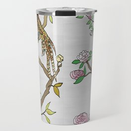 Chinoiserie Panels 4-5 Silver Gray Raw Silk - Casart Scenoiserie Collection Travel Mug