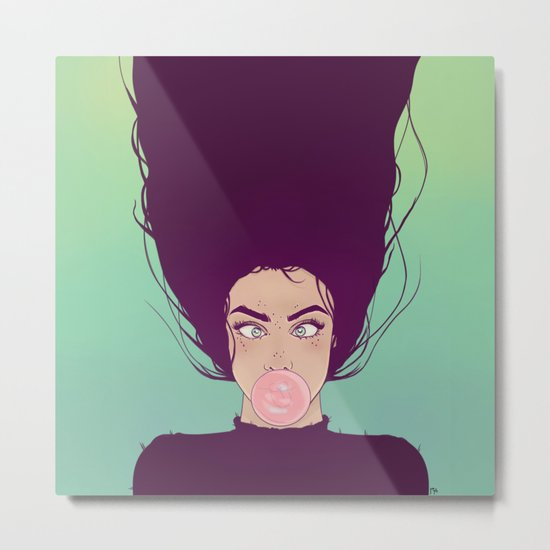 Bubble Gum Lady Metal Print