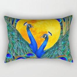 FULL GOLDEN MOON BLUE PEACOCK  FANTASY ART Rectangular Pillow