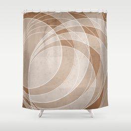 Orbiting Circle Design in Cinnamon Shower Curtain