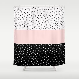 Pink white black watercolor polka dots Shower Curtain
