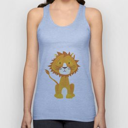 Cute lion illustration on white background Unisex Tank Top