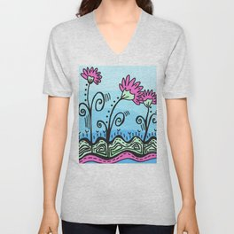 Three Spring Flowers - Blue Unisex V-Neck