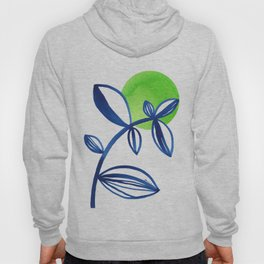 Blue and lime green minimalist leaves Hoody