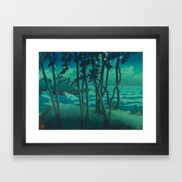Kawase Hasui Vintage Japanese Woodblock Print Cluster Of Pine Trees Near The Water's Edge At Night Framed Art Print
