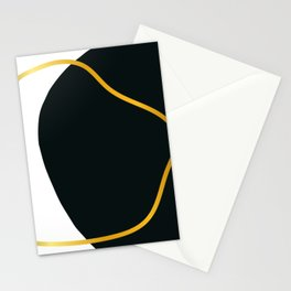 abstract black and golden line Stationery Cards