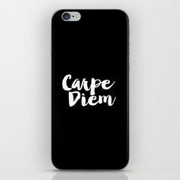 Carpe Diem black and white typography poster black-white design home decor bedroom dorm wall art iPhone Skin