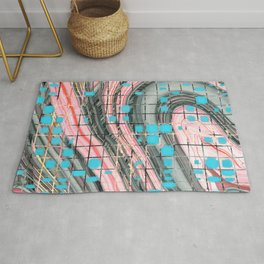 Pink and Blue Block Party Art by Sharon Cummings Rug
