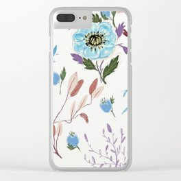 hand draw blue floral pattern Clear iPhone Case