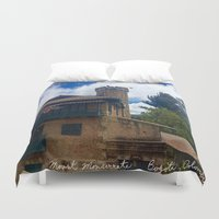 colombia Duvet Covers featuring Mount Monserrate at Christmastime Maybe, Bogota, Colombia by ANoelleJay
