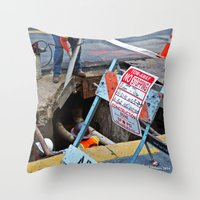 work hard Throw Pillows featuring Hard Work by Manford Holmes
