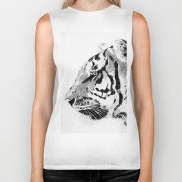 The Tiger Watercolor (Black and White) Biker Tank