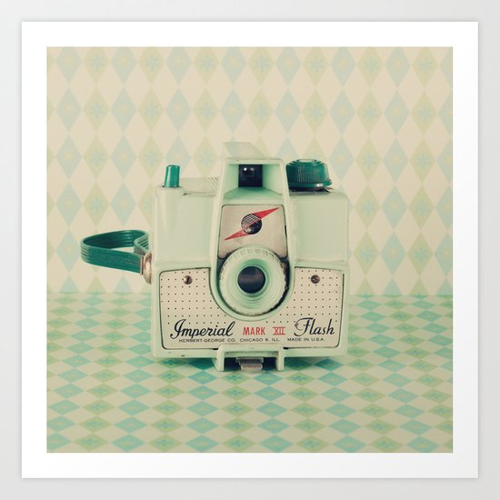 Retro Green Camera  Art Print