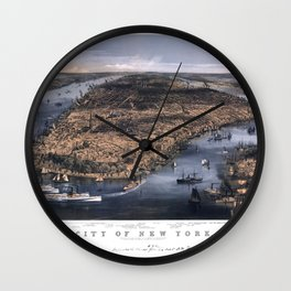 NEW YORK NYC city old map Father Day art print poster Wall Clock