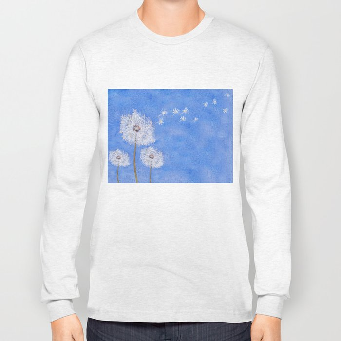 flying dandelion watercolor painting Long Sleeve T-shirt