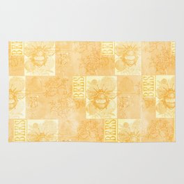 Bees and Blooms VII:  Watercolor illustrated bee and flower print Rug