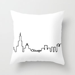 Chicago Skyline Abstract Sketch Throw Pillow