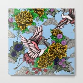 Cranes (Yellow) Metal Print