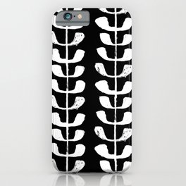 Linocut black and white botanical pattern minimalist home decor nursery trendy leaves pattern iPhone Case