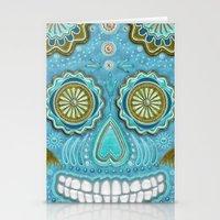 sugar skull Stationery Cards featuring sugar skull by Ancello