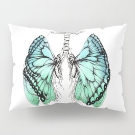 Butterfly Lungs Blue Green Pillow Sham