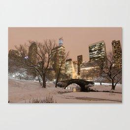 NYC - Gapstow Bridge, Central Park, Snow Canvas Print