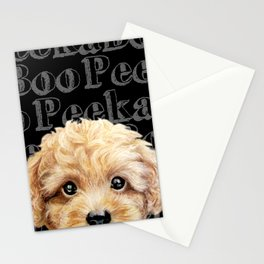 Peek A Boo-Toy poodle-Beige yellow tone Stationery Cards