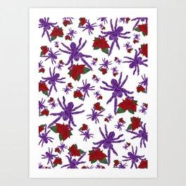 Poinsettia Spiders White Art Print