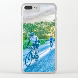 Cycling in The Countryside Clear iPhone Case