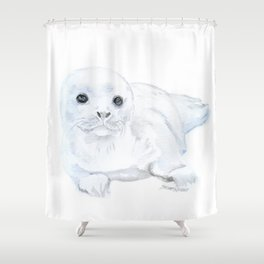 Baby Harp Seal Watercolor Shower Curtain