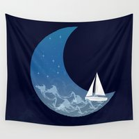 sailing Wall Tapestries featuring Moon Sailing by jozi.art