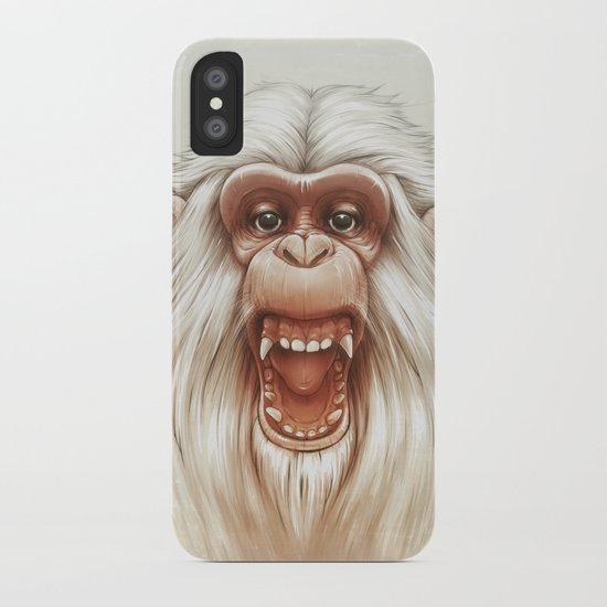 The White Angry Monkey iPhone Case
