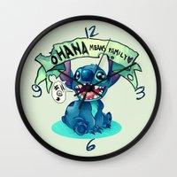 ohana Wall Clocks featuring Ohana by KanaHyde