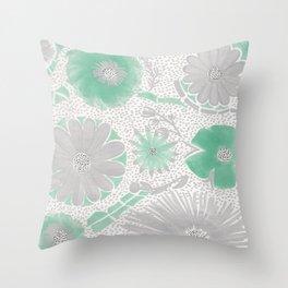 Mint & Silver Flowers Throw Pillow