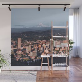 Portland Oregon Skyline and Mount Hood | Travel Photography Wall Mural