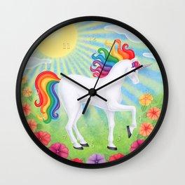 daydreamer (rainbow unicorn), sunshine, petunias Wall Clock