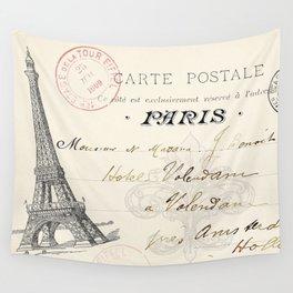I Love Paris Postcard Wall Tapestry