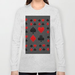 RED & BLACK PLAYING CARD  ART ON CHARCOAL GREY Long Sleeve T-shirt