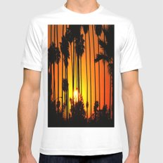 Striped Sunset Mens Fitted Tee MEDIUM White
