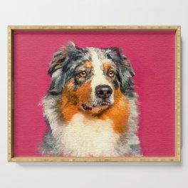 Australian Shepherd - Blue Merle Watercolor Digital Art Serving Tray