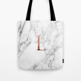 Monogram rose gold marble L Tote Bag