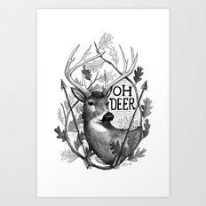 Oh Deer B&W Art Print