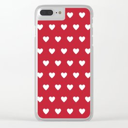Polka Dot Hearts - red and white Clear iPhone Case