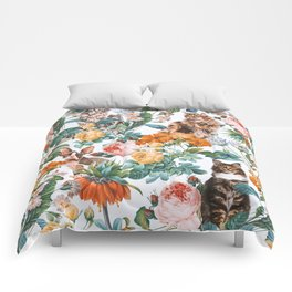 Cat and Floral Pattern III Comforters