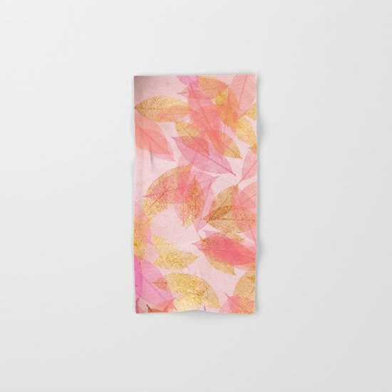Autumn-world- gold leaves on pink Hand & Bath Towel